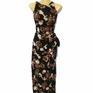 Vtg 90s All That Jazz floral faux wrap maxi dress
